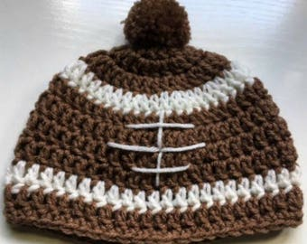 Baby Football Crochet Hat with pom, pom , Brown,  Baby Shower, Photo Opt.,kids hat, Baby hat, Childrens hat, Crochet hats, football,beanie
