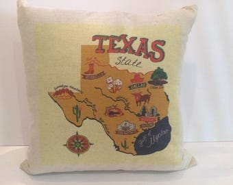State of Texas Map Pillow
