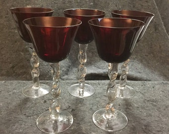 Vintage Empoli Ruby Red Venetian Murano Handblown Glass Goblets