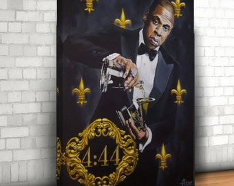 Jay z poster etsy large canvas print jay z 444 portrait acrylic painting poster prints gallery nike malvernweather Gallery