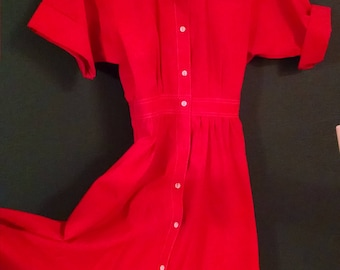 50's style dress,cherry red with pockets