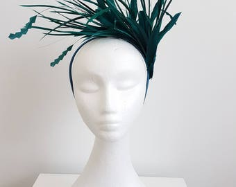 Miss Nikki womens headband feather fascinator in Teal