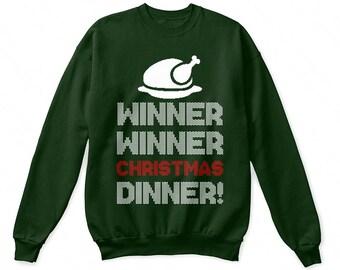 Winner winner christmas dinner shirt, christmas funny sweatshirt, christmas funny sweater, christmas funny ugly, christmas funny gift shirt