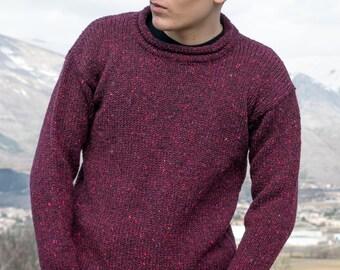 maglione aran-tweed-r10-collo-rullino-unisex