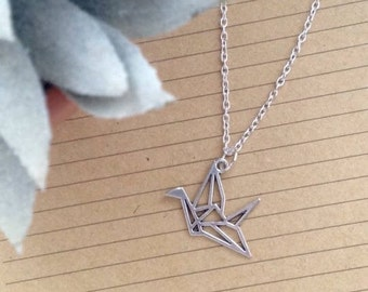 Chain necklace with pendant origami cranes