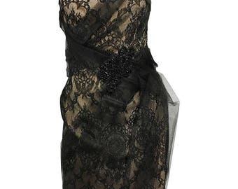 Marchesa Sweetheart Dress with Tulle Overlay