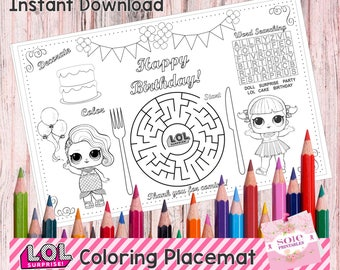 """Birthday Kids Activity Placemat, LOL Coloring, Activity Page, Printable Party Game, LOL Placemat (11""""x 14"""") - Instant Download!"""