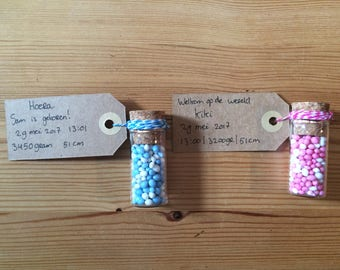 Birth Tjek spikelet-birth announcement-blue and pink sprinkles