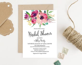 Bridal shower invitation,boho bridal shower, printable bridal invitation, rustic floral Wedding Shower invite, Blush Pink Bridal Shower