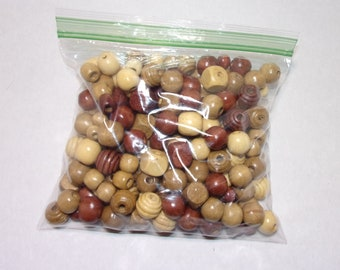 Bag of wooden beads