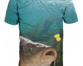 Cool 3D Sublimation Printed Camouflage Carp Fishing Mens T-shirt