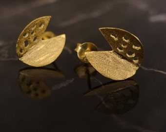 Silver Stud Earrings with 18K Gold lated, Statement Jewelry, Statement Earrings