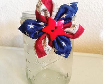 Patriotic Fabric Flower Headband