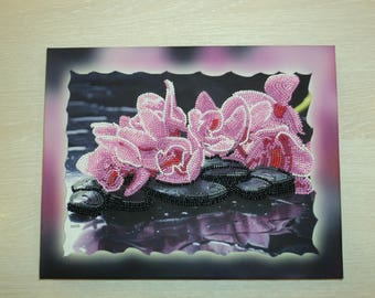 Beaded picture Embroidered beads painting Beadwork picture Handmade wall decor Picture on canvas Beaded flowers Gift for home decor