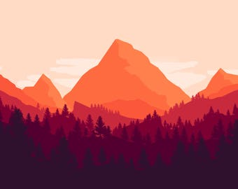 Flat forest landscape Sticker
