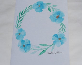 Greeting Card - Blue Flower Wreath