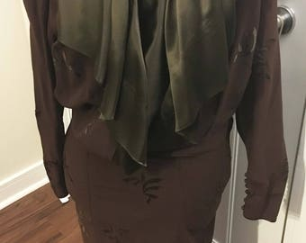 1934 Brown Crepe and Green Silk leaf Dress