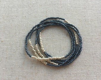 Seed Bead Stretch Layering Bracelet- Midnight Blue