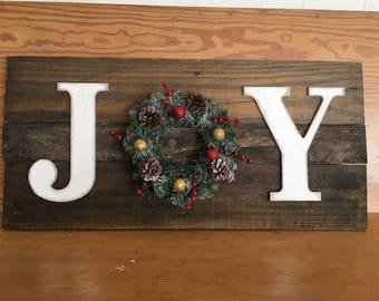 JOY, wreath sign, christmas decor