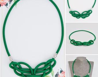 2v1 Single knot rope celtic necklace -green by Treda design