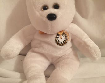 """Vtg bear '99 2000 Father Time 8"""" white and gold teddy bear"""