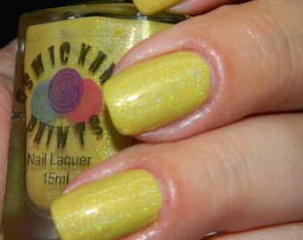 Sunshine yellow holographic nail polish