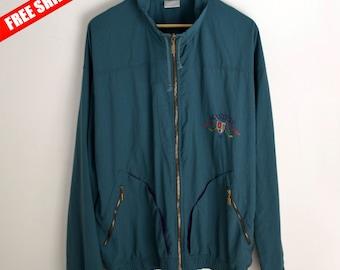 Vintage jacket Master men M L Vintage Windbreaker Light coat green 90s Windbreaker Green jacket Retro Jacket women M Cool jacket 1990