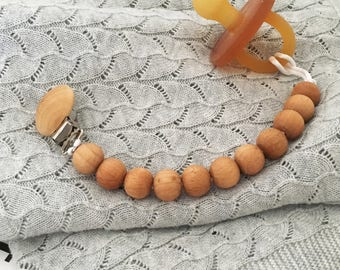 Classic Wooden Dummy Clip   Dummy Chain   Pacifier Clip   Soother Holder   Beech   Wooden   Beaded   Natural   Baby Shower Gift