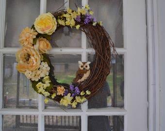 Cream, Yellow, & Purple Owl Grapevine Wreath