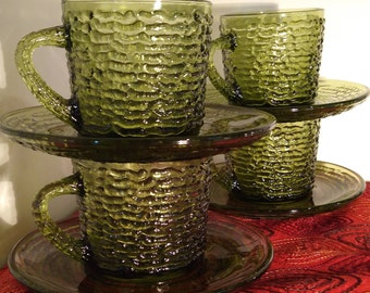 "Set of Four Avocado Green Glass Anchor Hawking ""Soreno"" Cups & Saucers"