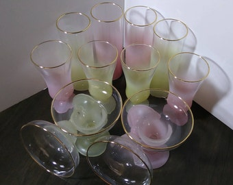 12 Piece Set, Mid Century, Federal Glass, Blendo, 4 Each Tom Collins, Footed Cocktail and Margarita Glasses, Pastel Pink and Yellow