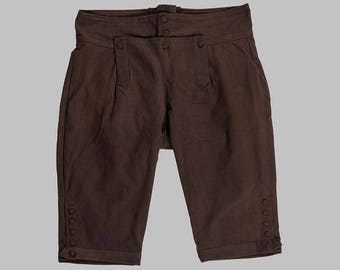 18th Century Men's Cotton Knee Breeches - Brown