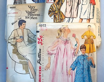Set of 4 Vintage Sleep Wear Sewing Patterns, Vogue 8669, Simplicity 4972, McCall's 2334, McCall 5465