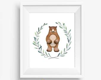 Boy Bear Nursery, Bear Nursery Decor, Bear Nursery, Woodland Nursery Prints, Baby Boy Woodland Nursery, Woodland Nursery Printable, 8x10