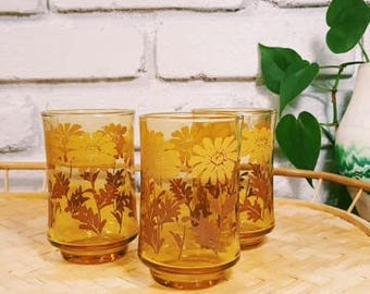 Vintage 70's Juice Glasses / Set of 3