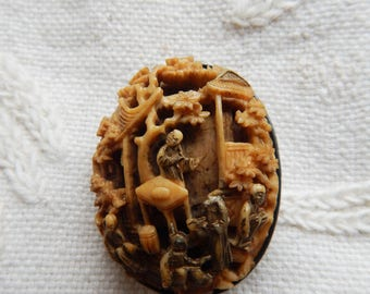 Antique Chinese Finely Carved Bone Brooch in Silver Mount - Master with Scholars - Minor Issue