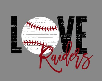 Love Raiders baseball distressed SVG/PNG/DXF