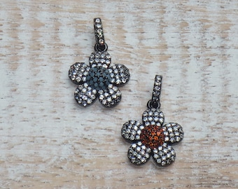 Pave CZ Flower Charms in Gunmetal CZ Flower Charms