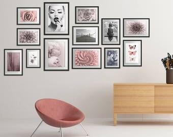 Blush and Gray Gallery Wall Art Set of 13 Art Prints, Art Print Bundle,  Wall Art Bundle, Room Decor, Modern Poster Set, Printable