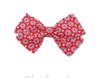 Girl or baby bow red neon patterned headband hair clip