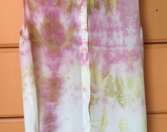 Upcycled 100% silk sleeveless blouse