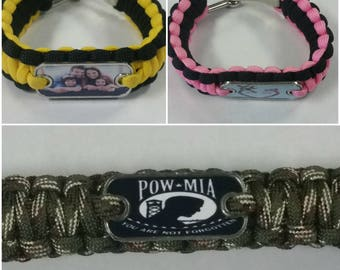 Personalized Paracord Bracelet!-Custom Photo Para cord Bracelet -Customize a Para-cord Bracelet with your own photos or images!
