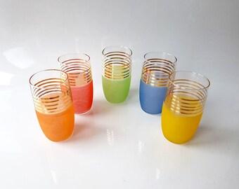 5 Vintage Long Drink Glasses, Mid Century Drinking Glasses,
