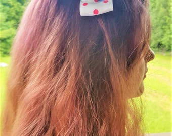 Twisty Pink Polka Dotted and Black Hair Bow