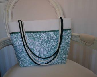 Spring Green floral patterned tote bag