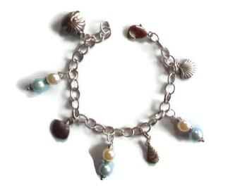 Charms/Theme shells/glass Pearl Beads Bracelet / gift idea