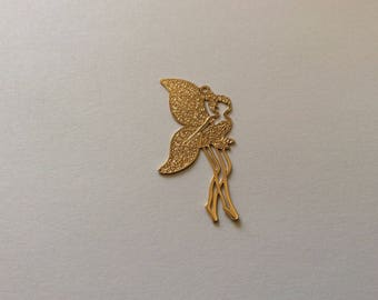 Gold plated 18 k 40 * 18mm fairy print