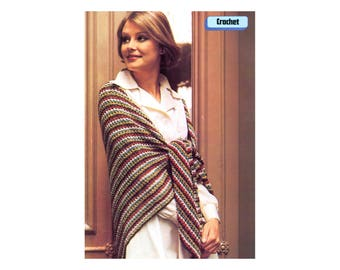 Striped Shawl Crochet Pattern - Multicolor rainbow in Silky yarn