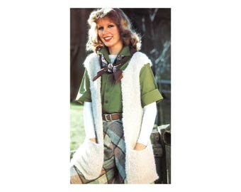 Woolly Vest & Jacket Knitting Pattern - Sleeveless long furry fuzzy coat with pockets or short vest