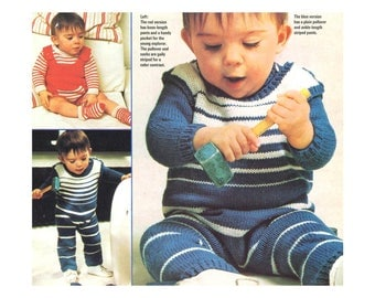 Playsuits for Baby Knitting Pattern - Striped One-Piece with long sleeves and pants or shorts, matching socks